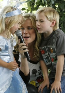 Alison with children on stage