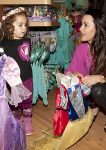 Kyle Richards and Portia picking Disney costumes
