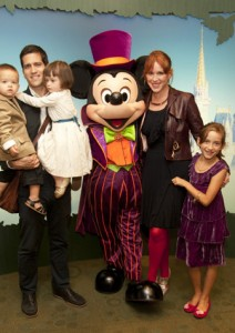 Molly Ringwald and family with Mickey