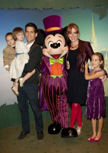 Molly Ringwald with family and Mickey